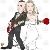 Caricatura de casamento - noivo roqueiro