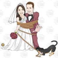 Caricatura de casamento - Casal enrolado em cordas pelo cachorro.