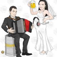 Caricatura de casamento - Noivo com gaita e noiva grávida com bebê ouvindo música.