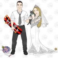 Caricatura de casamento - Noivo Skatista e torcedor do Flamengo com a noiva abraçada a um gatinho e