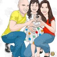 Caricatura de família - Toda família com a filha fazendo corações com as mãos.