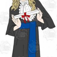 Caricatura de formatura - Formanda apresentando o diploma e vestida com roupa típica de formatura.