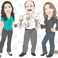 Caricatura de grupo - Grupo de empresa brindando com champagne.