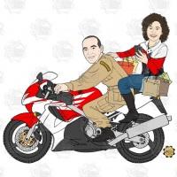 Caricatura de namorados - Casal na moto Honda e o rapaz com uniforme de bombeiro.