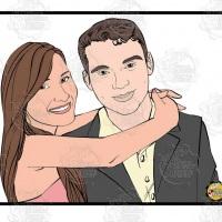 Caricatura de namorados - Namorada abraça o namorado com o casal formando um quadro.