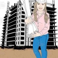 Caricatura de aniversário - Arquiteta segura diversas plantas com um prédio em construção ao fundo.