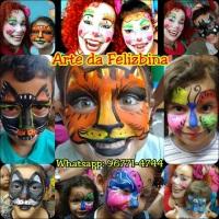 Maquiagens Artísticas feitas por Fabí Queiroz, que interpreta a Palhaça Felizbina, Emília, FelizBug,