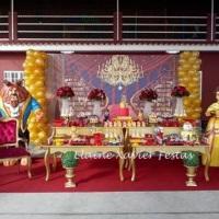 Decoração a Bela e a Fera , painel sublimado Festa a Bela e a Fera