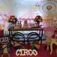 circo rosa, painel sublimado circo rosa, festa circo rosa luxo,