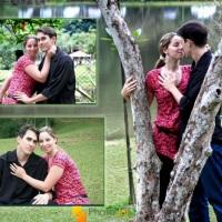 Uma montagem com fotos externa oferece tambem opçoes românticas para o casal.