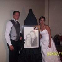 desenho do casal por foto na moldura