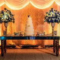 Casamento lindo Em tons de azul e dourado
