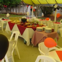 Chácara Meu Cantinho - área externa coberta para festas