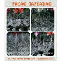 Taças de vidro jateadas