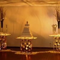 Mesa decorativa em vidro 03 pç. 1,00 x 1,00 m