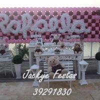 Festa Urso marrom e rosa provençal
