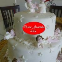 Dona Joaninha bolo batizado de anjinhos