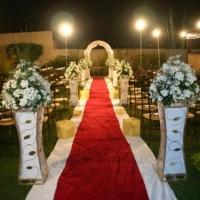 Casamento ao ar livre vermelho e branco