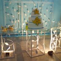 Mesa de Bolo - Casamento Azul, amarelo e branco.