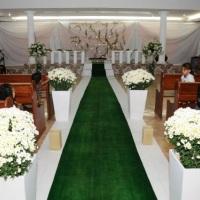 Casamento verde bandeira e branco
