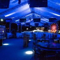 Sonorização, estruturas, painel de led, iluminação e tenda em box truss.