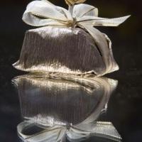 Bem-casado embalagem prata Luxo e flor
