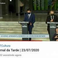 Interpretação simultânea no Jornal da tarde e pronunciamento da TV Cultura em 2020