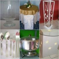 copos,toalhas, colunas, talheres, rechaud, mesas decorativas