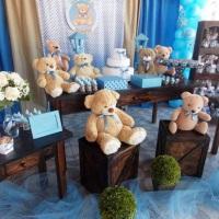 Chá de bebê - Ursinhos Marrom e Azul (poa)