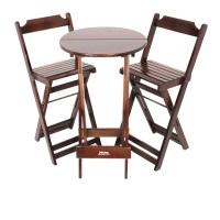Jogo de mesa bistrô alta de madeira com 02 cadeiras altas