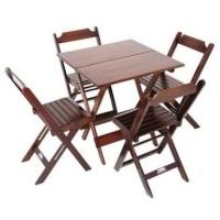 Jogo de mesa de madeira com 04 cadeiras