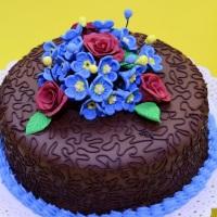 Arranjo Floral com Miósetes e Rosas em pasta de Açúcar