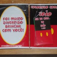 Kit de Livros de Colorir com Giz de Cera Mickey Tamanho: 14x10 cm Com 12 imagens em 6 páginas no t