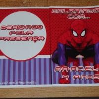 Kit de Livros de Colorir com Giz de Cera Homem Aranha Tamanho: 14x10 cm Com 12 imagens em 6 página