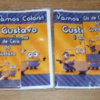 Kit de Livros de Colorir com Giz de Cera Minnions Tamanho: 14x10 cm Com 12 imagens em 6 páginas no