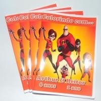 Kit de Livros de Colorir com Giz de Cera Os Incríveis Tamanho: 14x10 cm Com 12 imagens em 6 página