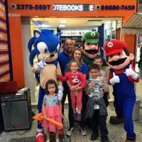 Animação de festa com Mário, Luiggi e Sonic #animação #festa #mario #recreação #megafest