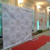 Iluminação Arquitetural, e BackDrop de 2x2m Evento Corporativo Correa Lima Seguros.