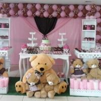 Festa Urso Marrom com Rosa