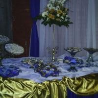 festa azul com dourado