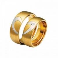Aliança de casamento em ouro 18 k formando coração