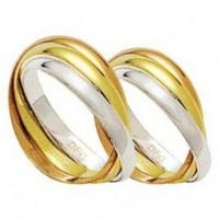 aliança de casamento cartier em ouro 18k amarelo, branco e rosê