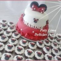 Bolo Comestível e cupcakes  - Minnie