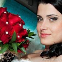 Bouque da noiva vermelho com apliques