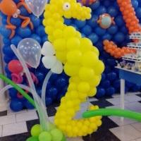 Decoração fundo do mar, cavalo marinho de balões