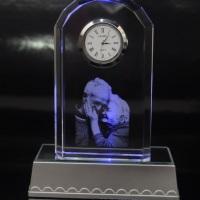 Cristal com Relógio + Base Retangular com led