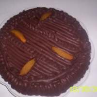 Torta de chocolate e pessêgo