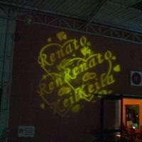moving light com nome dos noivos, debutantes, logo marca