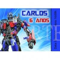 Convite Ingresso Transformers Optimus Prime