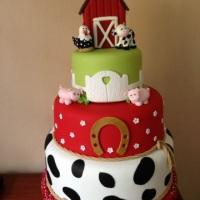 Maquete de bolo no tema Fazendinha